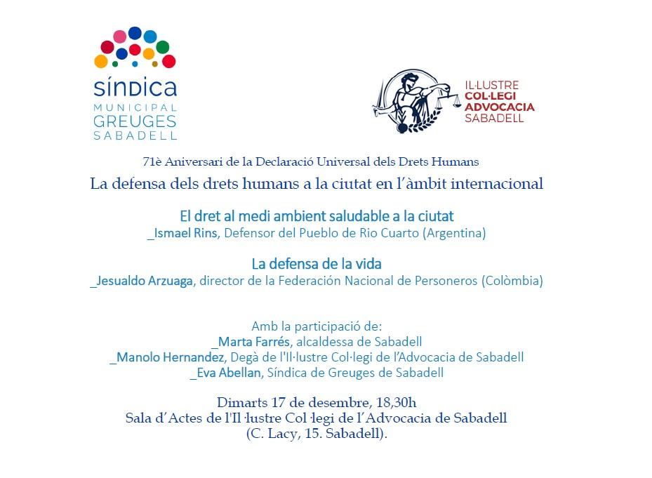 71è Aniversari de la Declaració Universal dels Drets Humans